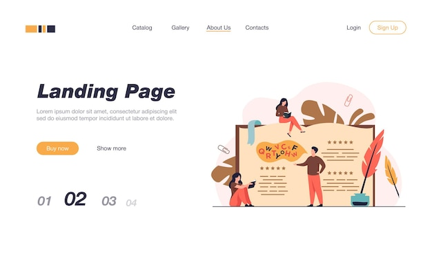 Tiny people reading and writing poetry or poem isolated landing page template