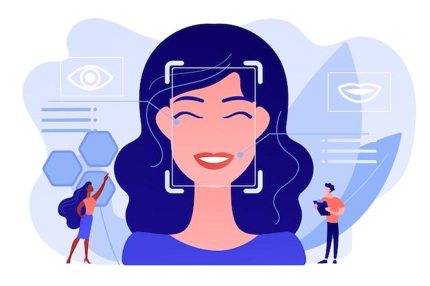 Крошечные люди-ученые определяют эмоции женщин по голосу и лицу. обнаружение эмоций, распознавание эмоционального состояния, концепция технологии эмо-сенсоров