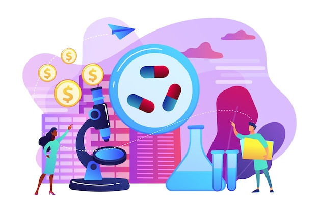 Tiny people scientists in the lab produce pharmaceutical drugs. pharmacological business, pharmaceutical industry, pharmacological service concept. bright vibrant violet  isolated illustration