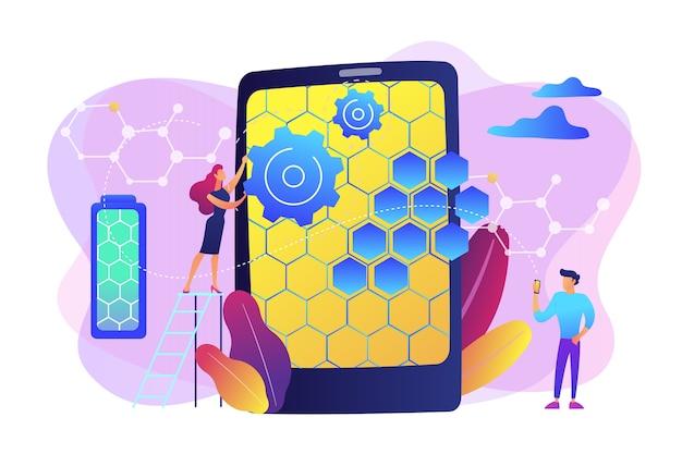スマートフォン用のグラフェン原子構造を持つ小さな人々の科学者。グラフェン技術、人工グラフェン、現代科学革命の概念。明るく鮮やかな紫の孤立したイラスト