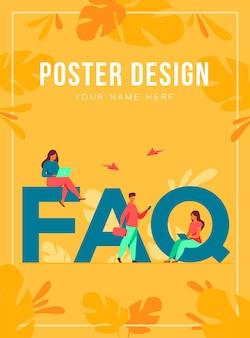 Крошечные люди, сидящие и стоящие возле гигантского faq, изолировали плоскую иллюстрацию. пользователи мультфильмов задают вопросы и получают ответы. справка, инструкция и концепция информации поддержки