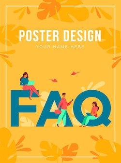Tiny people sitting and standing near giant faq isolated flat  illustration. cartoon users asking questions and getting answers. help, instruction and support information concept