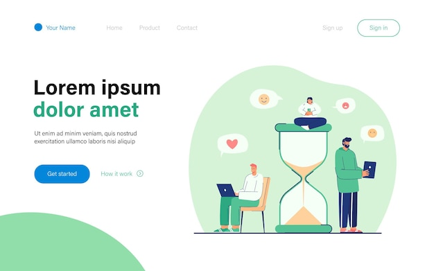 Tiny people spending their time in internet landing page template
