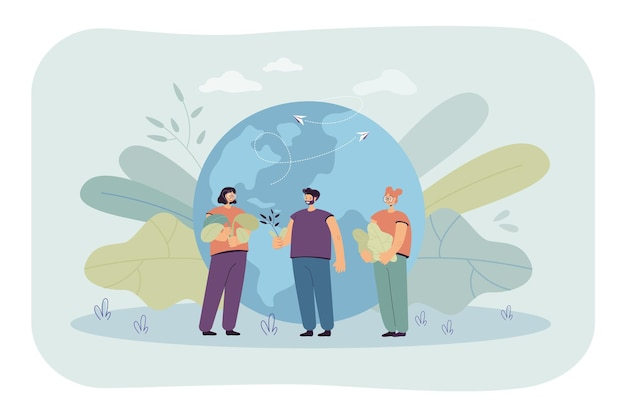 Tiny people standing near earth globe flat illustration