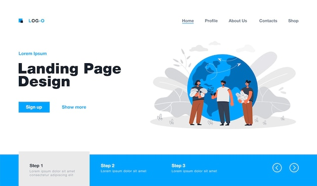 Tiny people standing near earth globe landing page in flat style. cartoon man and women near planet holding plants