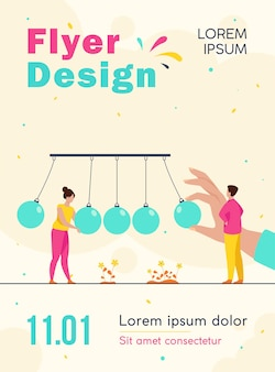 Tiny people standing near pendulum isolated flyer template