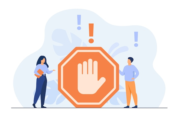 Tiny people standing near prohibited gesture isolated flat illustration.