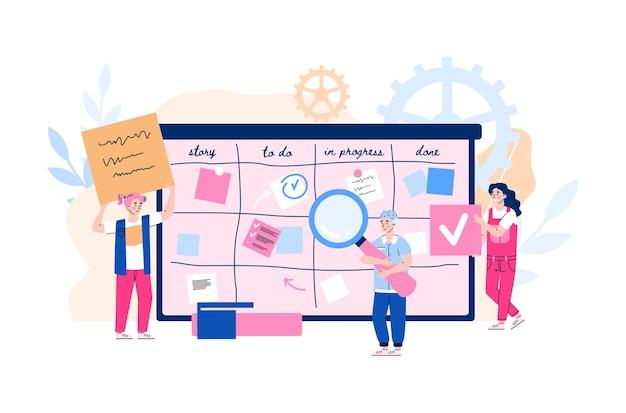 Tiny people standing next to tasks board flat cartoon vector illustration