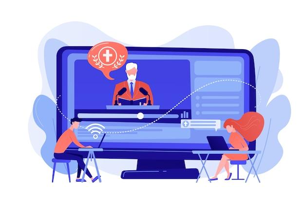 小さな人々、オンラインで宗教講義を聞いている学生。神学講義、オンライン宗教講義、宗教学コースのコンセプト。ピンクがかった珊瑚bluevector分離イラスト