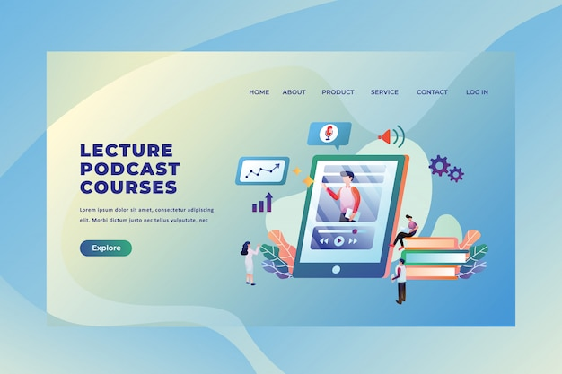 Tiny people  studying from online lecture podcast courses, web page header landing page template