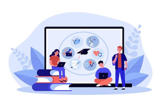 Крошечные люди учатся онлайн возле огромного ноутбука. улыбающиеся студенты, обучающиеся на компьютере. дистанционный колледж или университет, курс или лекция. образование и знания. векторные иллюстрации шаржа.
