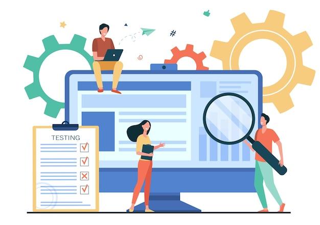 ソフトウェア分離フラットベクトルイラストで品質保証をテストする小さな人々。ハードウェアデバイスのバグを修正する漫画のキャラクター。アプリケーションテストとitサービスの概念