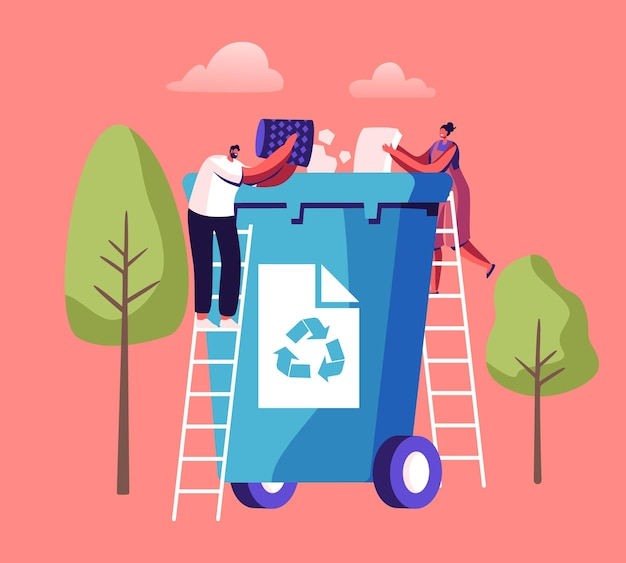 小さな人々は、リサイクルサイン付きの巨大なゴミ箱に紙のゴミを投げます。ゴミを集める都市住民。漫画イラスト