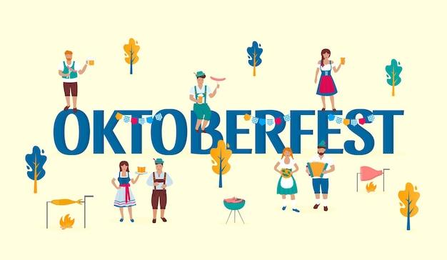 Tiny people in traditional austrian costumes on the background of a huge inscription oktoberfest. german folk celebration of the great outdoors. bavarian autumn beer festival.