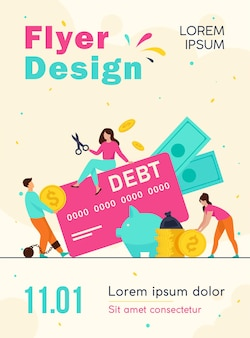 Tiny people in trap of credit card debt flyer template