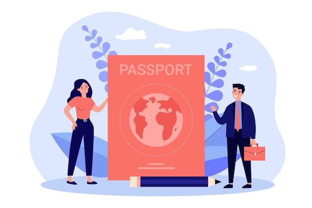 外国のパスポートを持って旅行する小さな人々