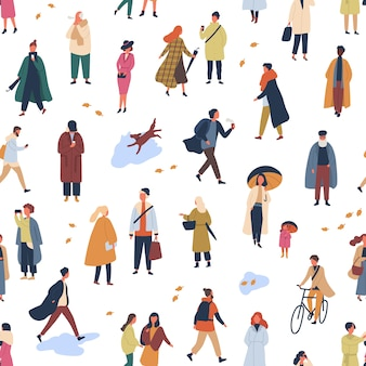 Tiny people in trendy clothes flat seamless pattern. young and old women and men in autumn clothing decorative backdrop. stylish guys and girls wearing fall season outerwear wallpaper design.
