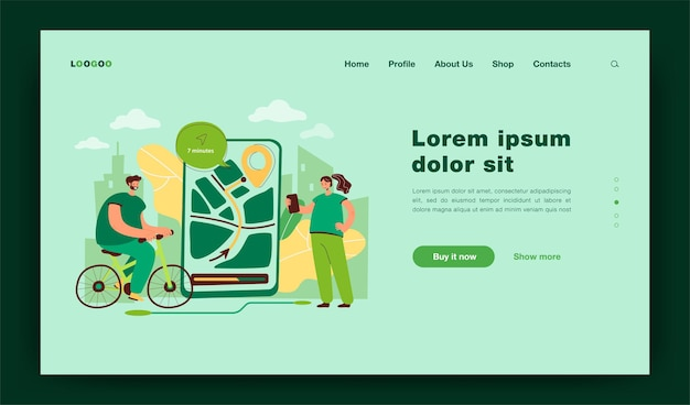 Tiny people using mobile app for navigation in city landing page template