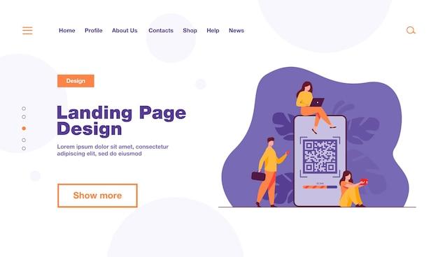 Крошечные люди, использующие qr-код для шаблона целевой страницы онлайн-платежей