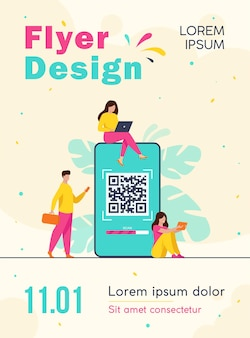 Tiny people using qr code for online payment isolated flyer template