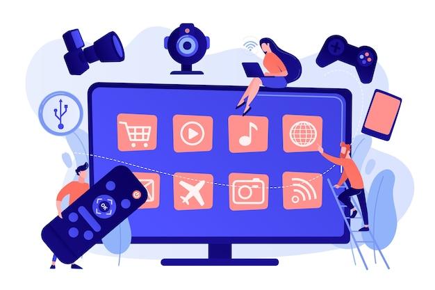 Minuscole persone che utilizzano la televisione intelligente collegata ai moderni dispositivi digitali. accessori smart tv, intrattenimento tv interattivo, concetto di strumenti tv di gioco