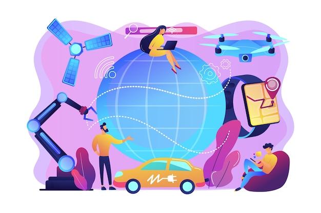 Крошечные люди, использующие технологические инновации, цифровые устройства. технологическая революция, современные научные инновации, концепция технического прогресса. яркие яркие фиолетовые изолированные иллюстрации