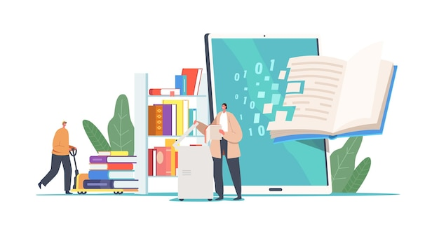 Tiny people with huge books in library. books digitization concept. librarian characters scanning paper pages converting information into digital version on computer. cartoon vector illustration