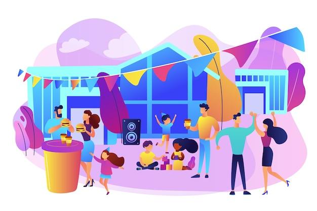 Piccole persone con bambini che mangiano fast food e ballano, godendosi il festival all'aperto. festa di strada, festa della città della pizza, concetto di festival di cibo a costine