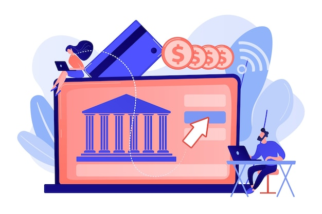 Tiny people with laptop and financial digital transformation. open banking platform, online banking system, finance digital transformation concept illustration