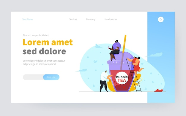 Tiny people with plastic cup of bubble tea. black girl sitting on top of cup and drinking beverage, woman climbing ladder, man standing beside. bubble tea, business concept for banner or background