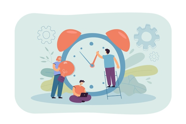 Tiny people working with alarm clock isolated flat illustration.