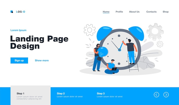 Tiny people working with alarm clock landing page in flat style. cartoon businesspeople working in team with chronometer