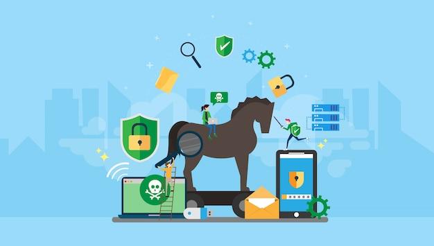 Троянский конь и защита от вредоносных программ tiny people символов иллюстрация