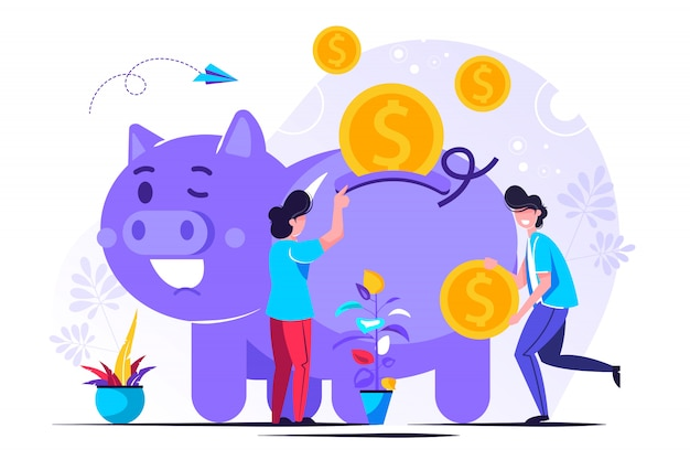 予算の貯金箱を持つ小さな人の概念