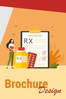 Крошечный фармацевт, стоящий рядом с плоской векторной иллюстрацией рецепта rx. мультяшный фармацевт, рекомендующий пациенту обезболивающие. концепция аптек и наркотиков