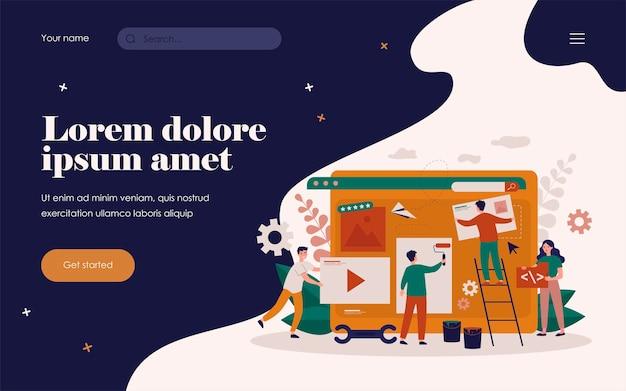 ウェブサイトやブログのデザインに取り組んでいる小さな専門家。ウェブページを構築し、ペイントする人々。デジタルマーケティング、ウェブデザイン、デザイナーの仕事の概念のためのフラットベクトルイラスト