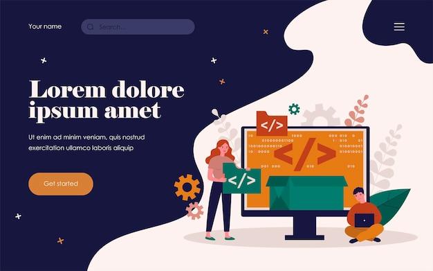 Tiny programmers programming website for internet platform flat vector illustration. cartoon developers creating open code or script. software development and digital technology concept