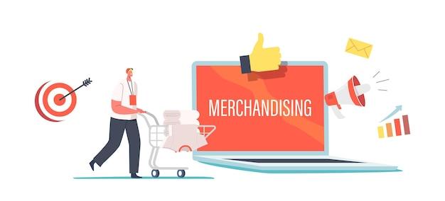 巨大なラップトップで販促品を備えた小さなプロモーター男性キャラクタープッシュトロリー。マーチャンダイジング、ブランドアイデンティティ。男は会社のロゴが付いたtシャツの山を運ぶ。漫画の人々のベクトル図