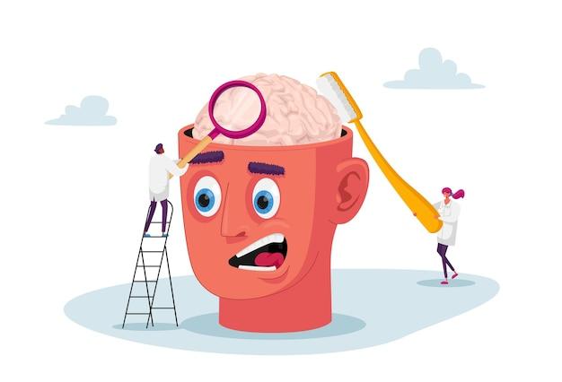 Крошечные психотерапевты-врачи-персонажи изучают огромный человеческий мозг, чистят его зубной щеткой