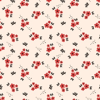 Tiny red flower seamless pattern