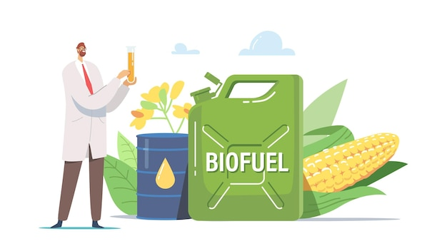 Tiny scientist chemist male character holding glass flask with liquid eco petrol stand at huge biofuel canister with plants, flowers and corn near barrel with fuel