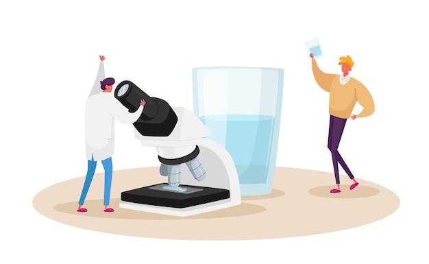 깨끗한 여과수를 배우는 현미경의 작은 과학자 모습. 순수한 신선한 음료수와 함께 거대한 유리의 작은 캐릭터