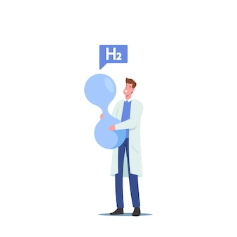 Крошечный ученый-мужчина, держащий огромную молекулу h2, производство водородного топлива в химической лаборатории, топливо будущего