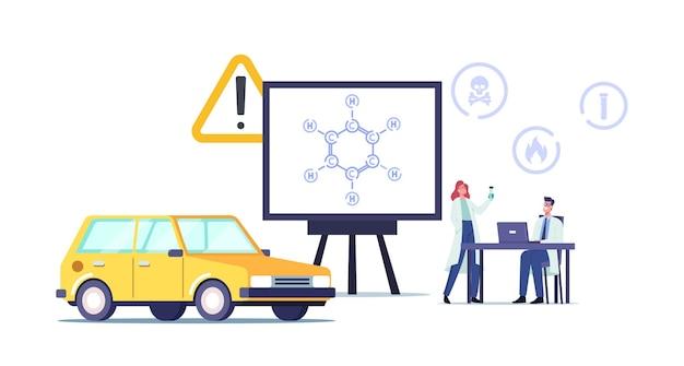 ベンゼン環炭化水素フォーミュラc6h6を使用した巨大スクリーン近くの実験室の小さな科学者のキャラクター。自動車に燃料を補給するための石油。生化学科学。漫画の人々のベクトル図