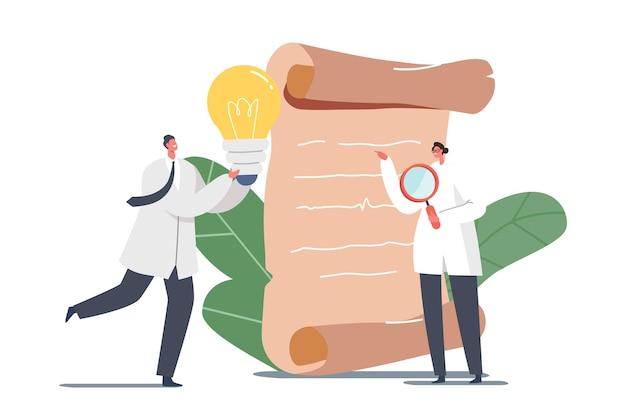 拡大鏡と光る電球を持った小さな科学者の男性と女性のキャラクターが巨大なアンティーク羊皮紙に立っています