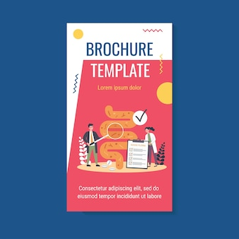 Tiny scientists studying gastrointestinal tract and digestive system brochure template