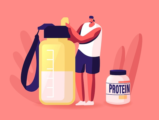 Tiny sportsman character making protein cocktail in shaker in gym