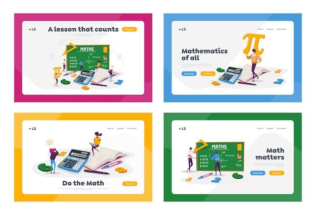 巨大な黒板で数学を学ぶ実験室または学校のクラスの小さな学生キャラクター