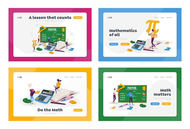 Tiny student characters in lab or school class learning mathematics at huge blackboard