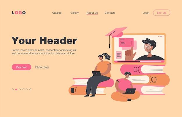 ノートパソコンのフラットランディングページを介してオンラインレッスンを学ぶ小さな学生..コンピュータのウェビナーやビデオ大学の講義を聞いている漫画の人々。教育とデジタル技術の概念